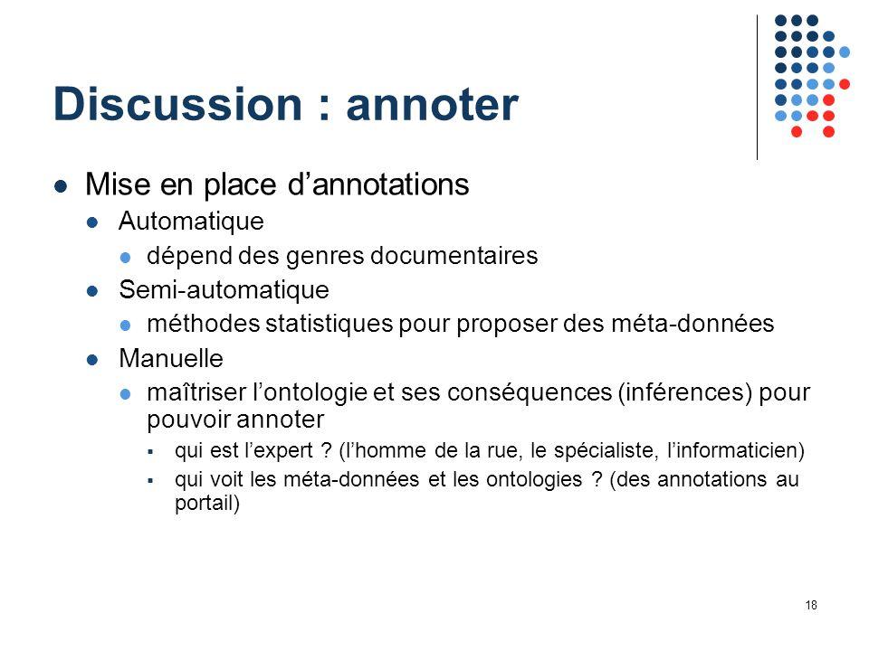 18 Discussion : annoter Mise en place d'annotations Automatique dépend des genres documentaires Semi-automatique méthodes statistiques pour proposer d
