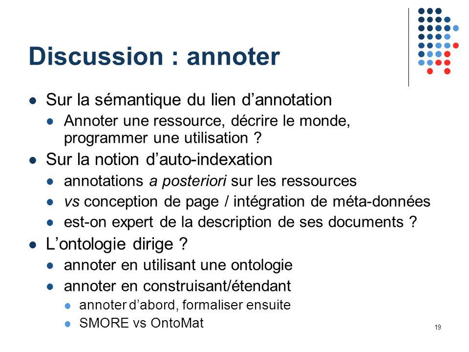 19 Discussion : annoter Sur la sémantique du lien d'annotation Annoter une ressource, décrire le monde, programmer une utilisation .