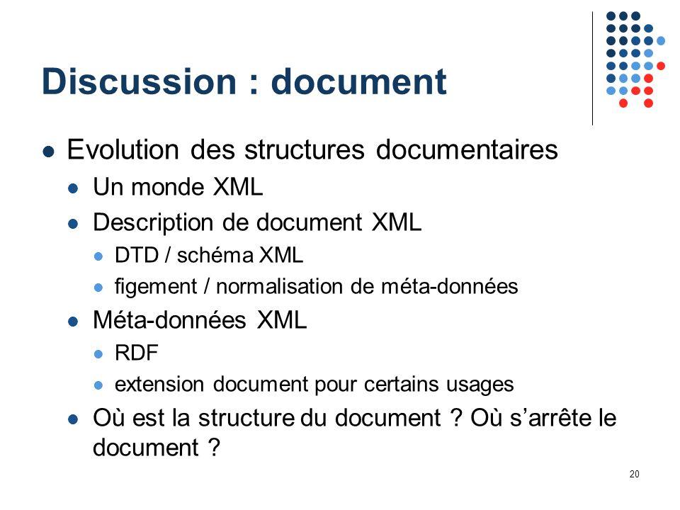 20 Discussion : document Evolution des structures documentaires Un monde XML Description de document XML DTD / schéma XML figement / normalisation de méta-données Méta-données XML RDF extension document pour certains usages Où est la structure du document .