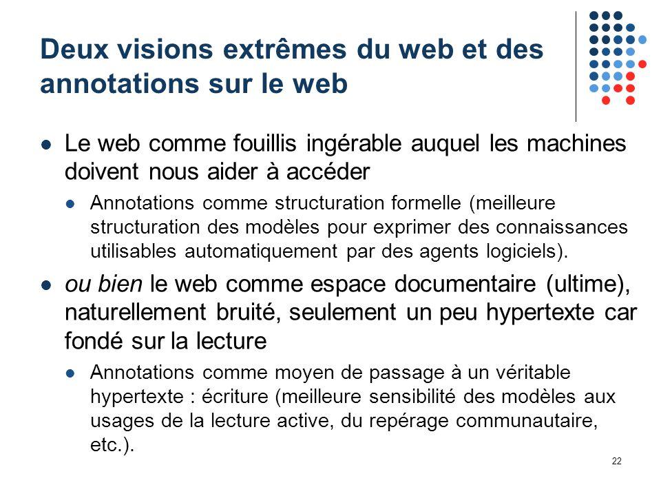 22 Deux visions extrêmes du web et des annotations sur le web Le web comme fouillis ingérable auquel les machines doivent nous aider à accéder Annotat