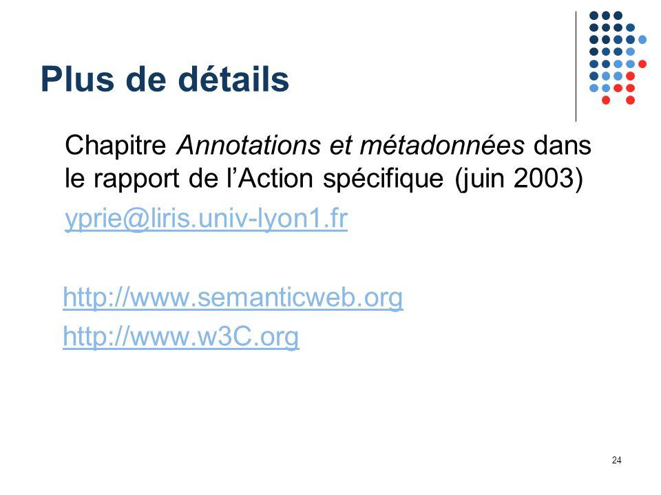 24 Plus de détails Chapitre Annotations et métadonnées dans le rapport de l'Action spécifique (juin 2003) yprie@liris.univ-lyon1.fr http://www.semanticweb.org http://www.w3C.org