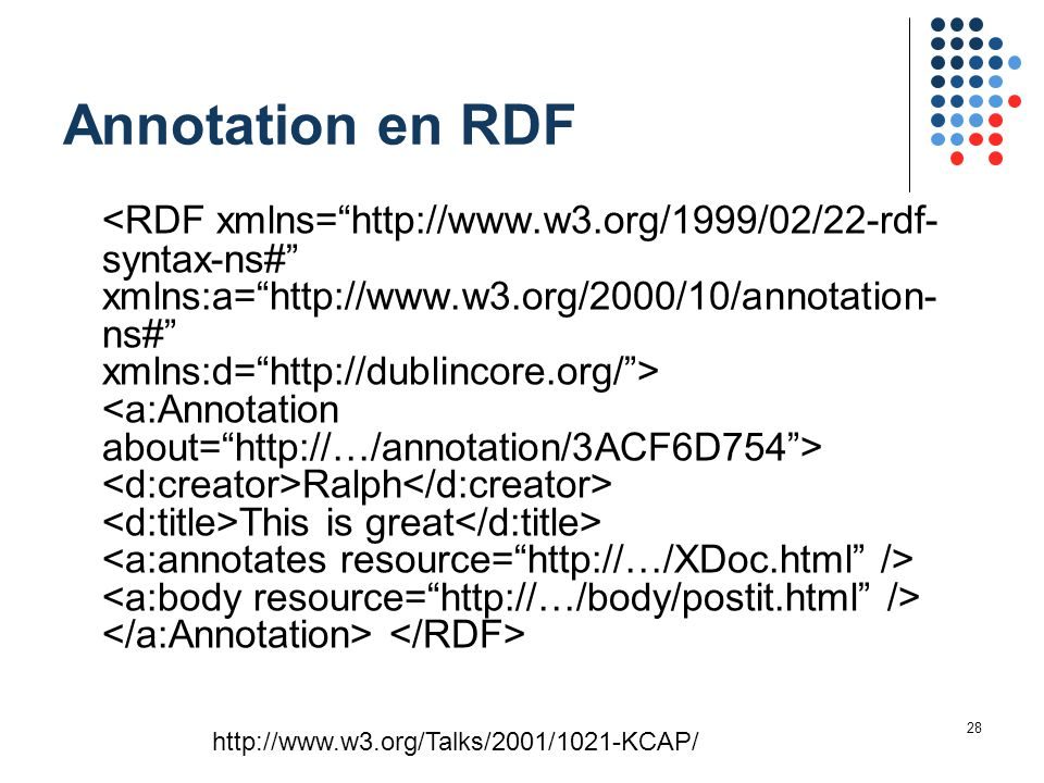 28 Annotation en RDF Ralph This is great http://www.w3.org/Talks/2001/1021-KCAP/