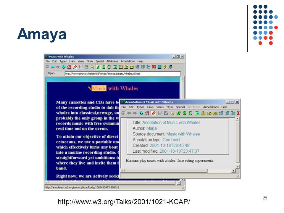 29 Amaya http://www.w3.org/Talks/2001/1021-KCAP/