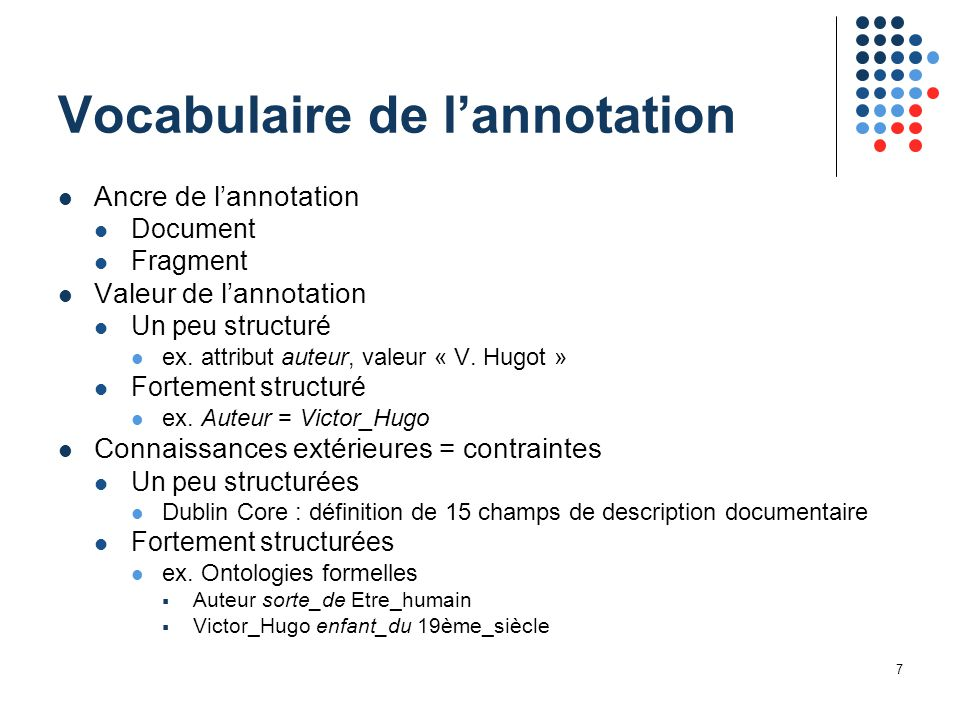 7 Vocabulaire de l'annotation Ancre de l'annotation Document Fragment Valeur de l'annotation Un peu structuré ex.