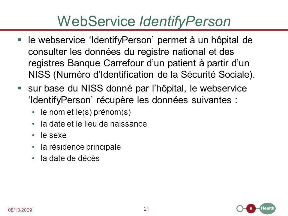 21 08/10/2009 WebService IdentifyPerson  le webservice 'IdentifyPerson' permet à un hôpital de consulter les données du registre national et des registres Banque Carrefour d'un patient à partir d'un NISS (Numéro d'Identification de la Sécurité Sociale).