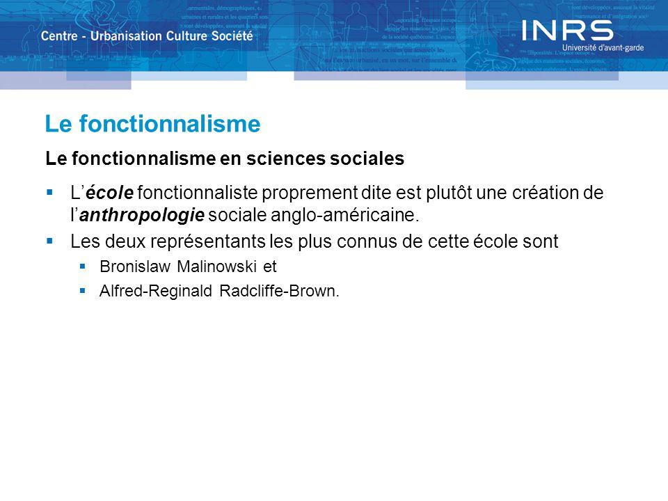 Le fonctionnalisme Le fonctionnalisme en sciences sociales  L'école fonctionnaliste proprement dite est plutôt une création de l'anthropologie social