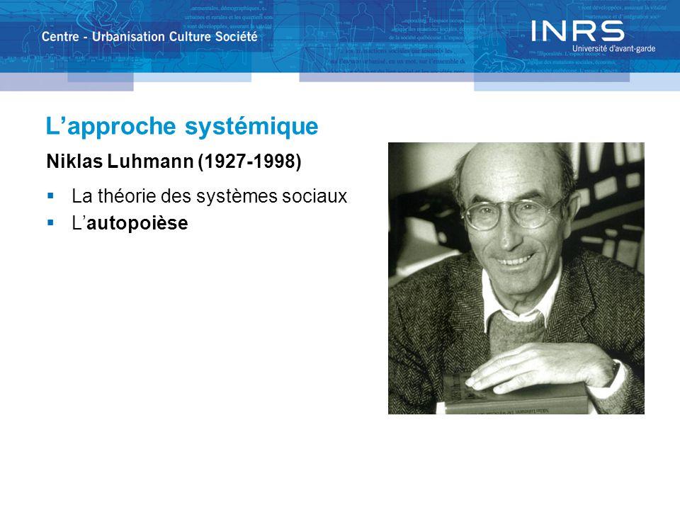 L'approche systémique Niklas Luhmann (1927-1998)  La théorie des systèmes sociaux  L'autopoièse