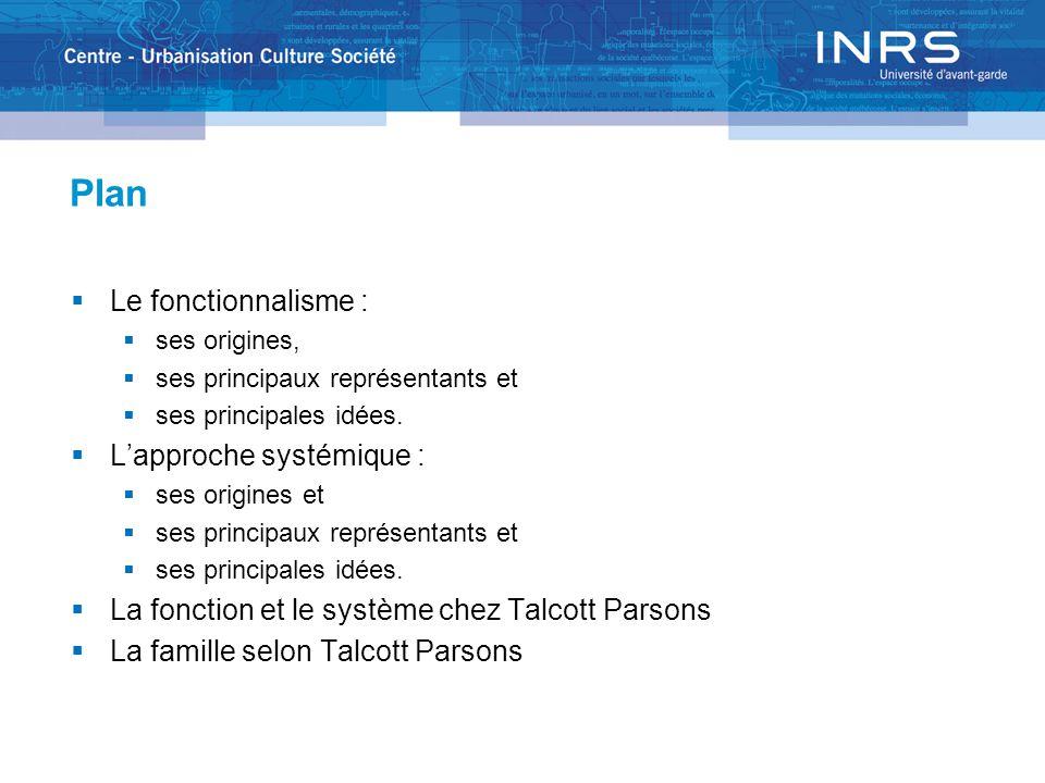 Plan  Le fonctionnalisme :  ses origines,  ses principaux représentants et  ses principales idées.