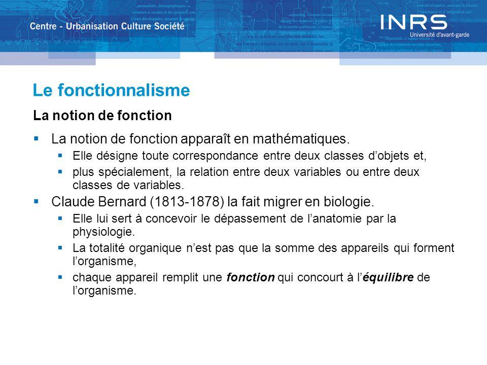 Le fonctionnalisme La notion de fonction  La notion de fonction apparaît en mathématiques.  Elle désigne toute correspondance entre deux classes d'o