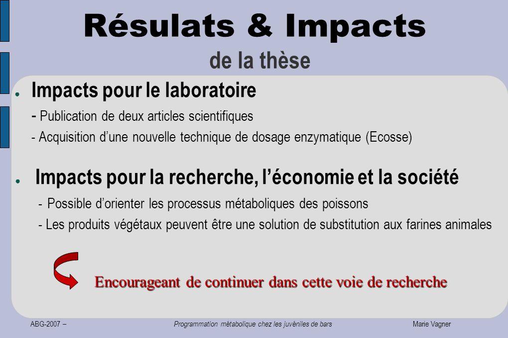 ABG-2007 – Programmation métabolique chez les juvéniles de bars Marie Vagner Résulats & Impacts de la thèse ● Impacts pour le laboratoire - Publicatio