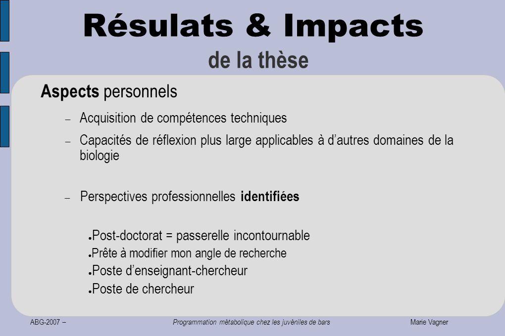 ABG-2007 – Programmation métabolique chez les juvéniles de bars Marie Vagner Résulats & Impacts de la thèse Aspects personnels  Acquisition de compét