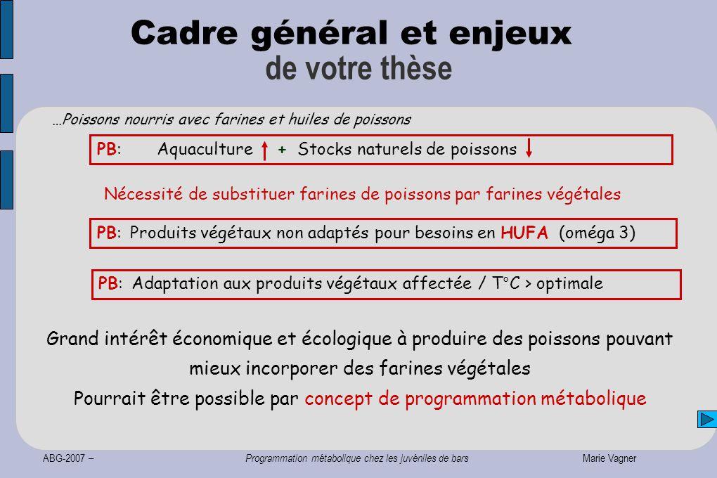 ABG-2007 – Programmation métabolique chez les juvéniles de bars Marie Vagner Cadre général et enjeux de votre thèse …Poissons nourris avec farines et