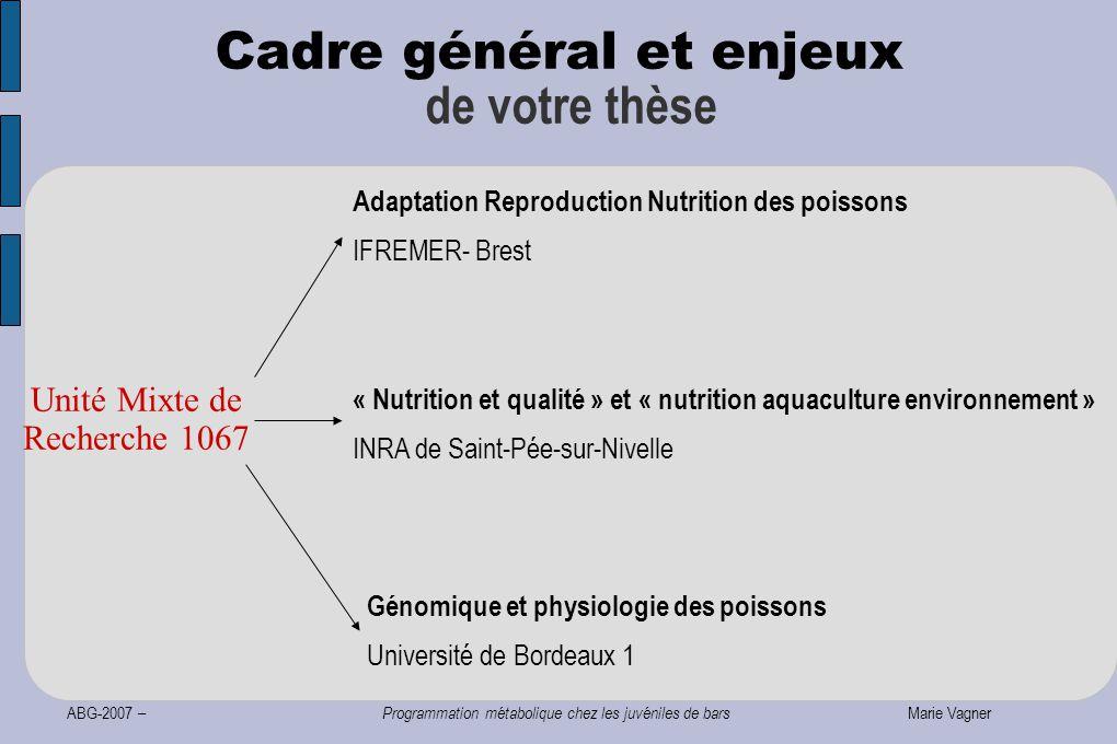 ABG-2007 – Programmation métabolique chez les juvéniles de bars Marie Vagner Cadre général et enjeux de votre thèse Adaptation Reproduction Nutrition