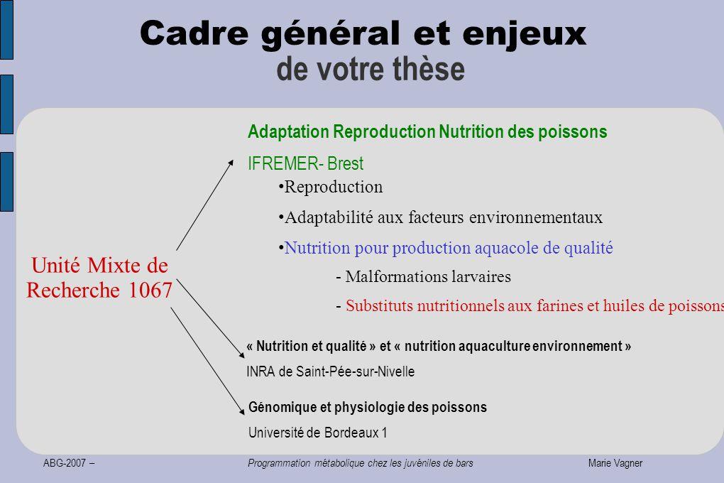 ABG-2007 – Programmation métabolique chez les juvéniles de bars Marie Vagner Cadre général et enjeux de votre thèse Unité Mixte de Recherche 1067 Repr