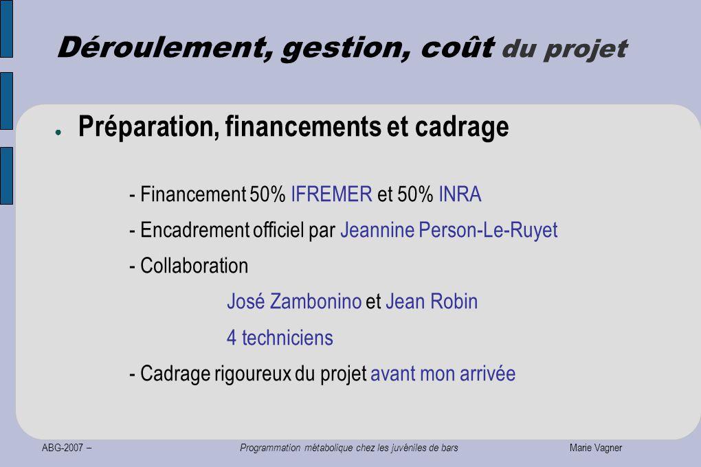 ABG-2007 – Programmation métabolique chez les juvéniles de bars Marie Vagner Déroulement, gestion, coût du projet ● Préparation, financements et cadra