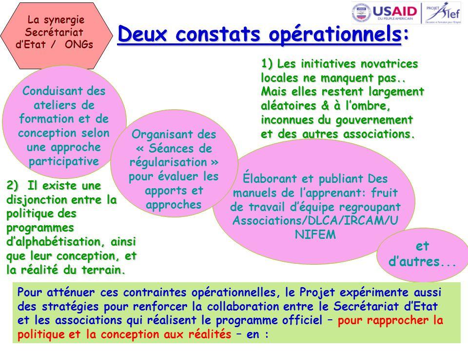 La synergie Secrétariat d'Etat / ONGs La synergie Secrétariat d'Etat / ONGs 1) Les initiatives novatrices locales ne manquent pas..