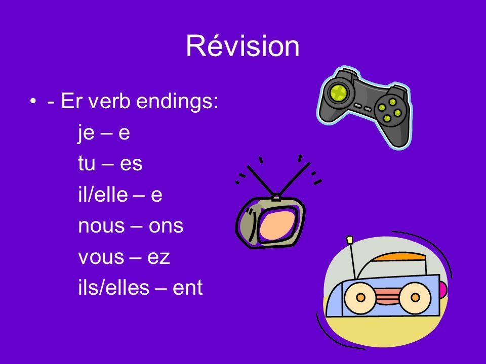 Révision - Er verb endings: je – e tu – es il/elle – e nous – ons vous – ez ils/elles – ent