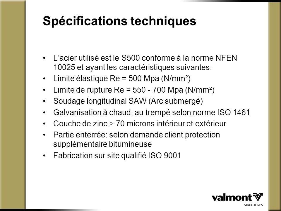 Spécifications techniques L'acier utilisé est le S500 conforme à la norme NFEN 10025 et ayant les caractéristiques suivantes: Limite élastique Re = 50