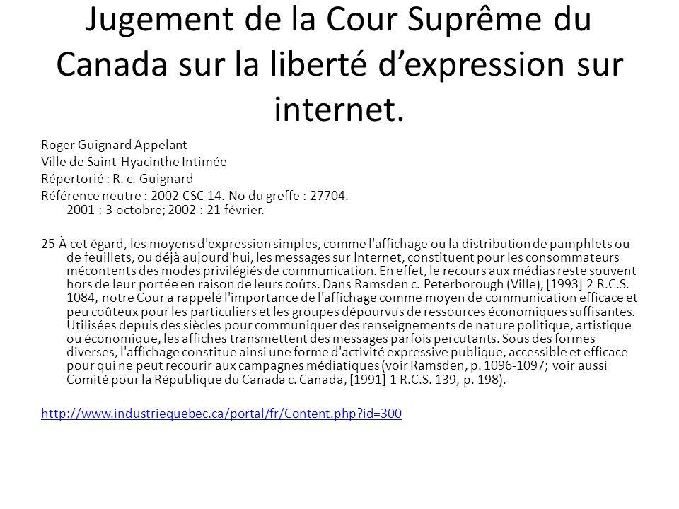 Jugement de la Cour Suprême du Canada sur la liberté d'expression sur internet.