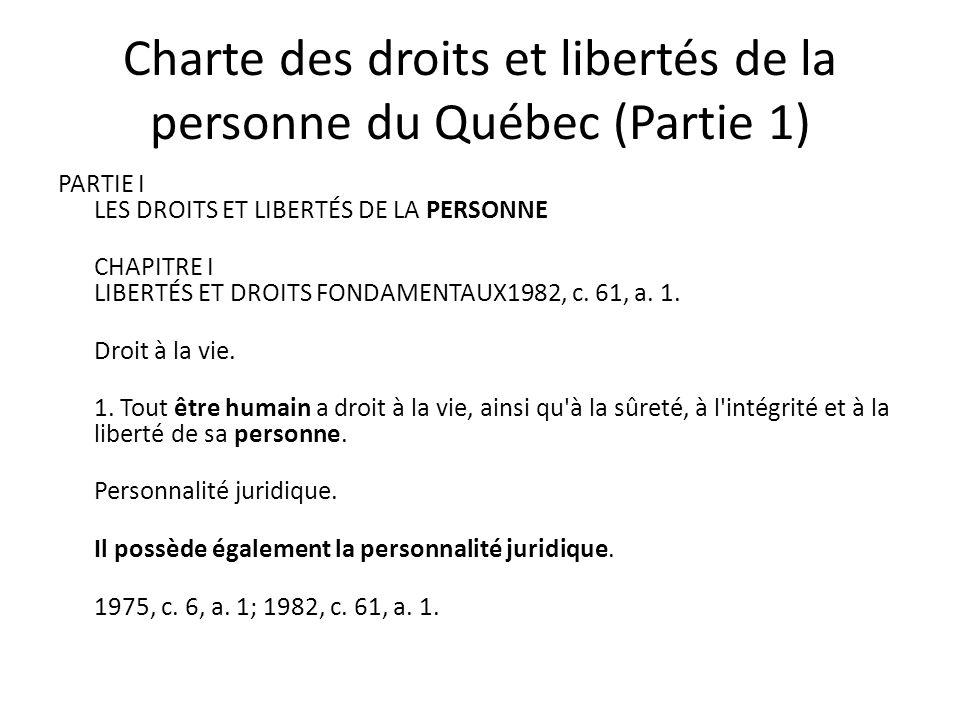 Charte des droits et libertés de la personne du Québec (Partie 1) PARTIE I LES DROITS ET LIBERTÉS DE LA PERSONNE CHAPITRE I LIBERTÉS ET DROITS FONDAMENTAUX1982, c.