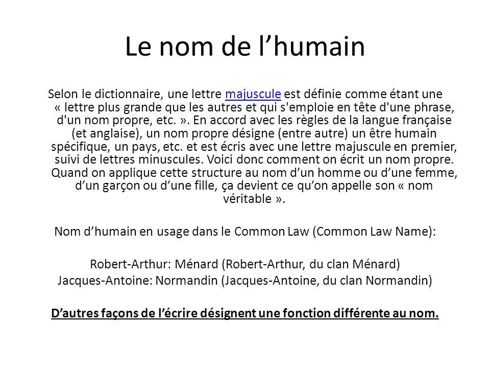 Le nom de l'humain Selon le dictionnaire, une lettre majuscule est définie comme étant une « lettre plus grande que les autres et qui s emploie en tête d une phrase, d un nom propre, etc.