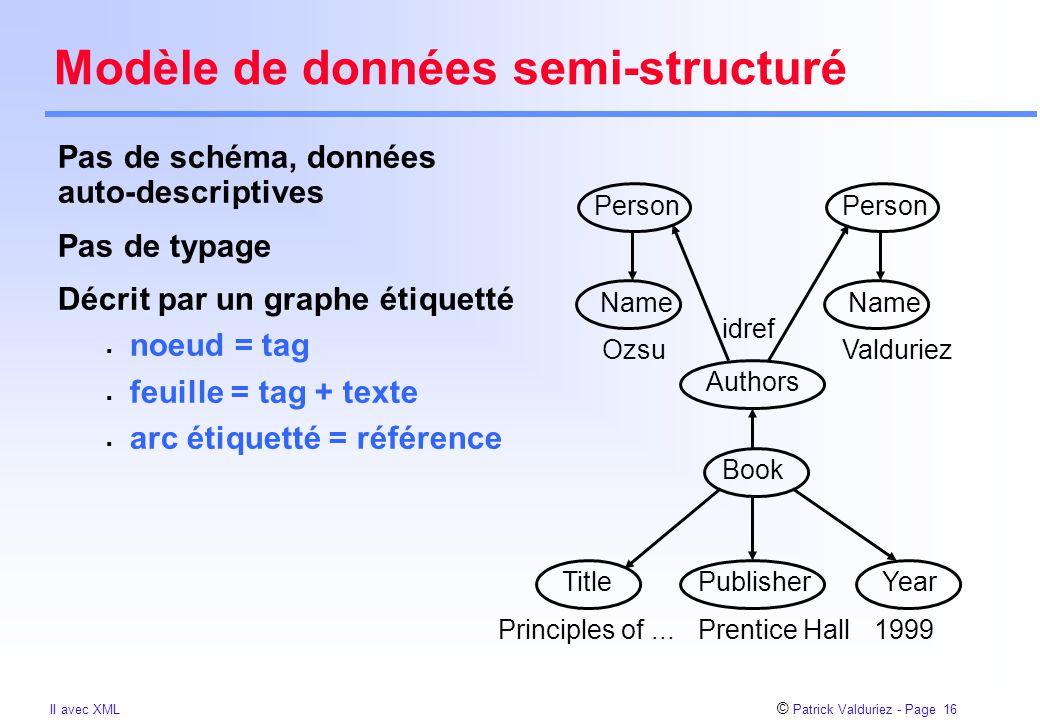 © Patrick Valduriez - Page 16 II avec XML Modèle de données semi-structuré Pas de schéma, données auto-descriptives Pas de typage Décrit par un graphe