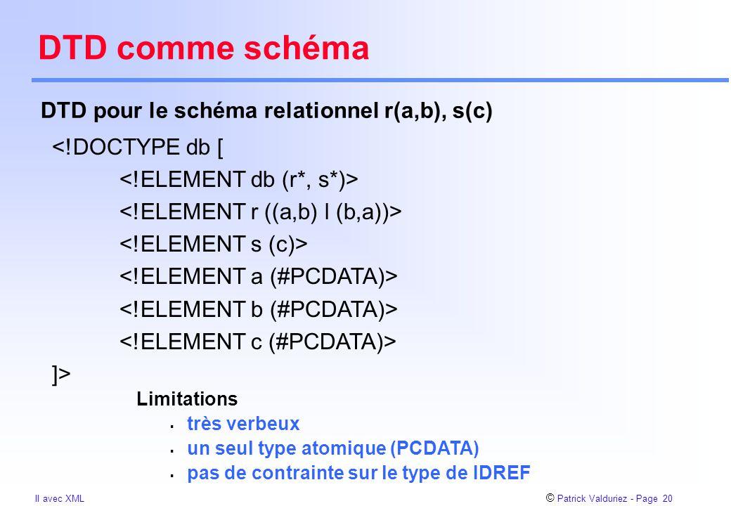 © Patrick Valduriez - Page 20 II avec XML DTD comme schéma DTD pour le schéma relationnel r(a,b), s(c) <!DOCTYPE db [ ]> Limitations  très verbeux  un seul type atomique (PCDATA)  pas de contrainte sur le type de IDREF