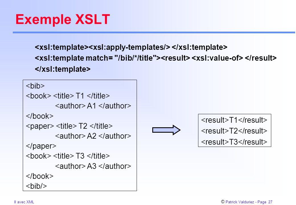 © Patrick Valduriez - Page 27 II avec XML Exemple XSLT T1 A1 T2 A2 T3 A3 T1 T2 T3