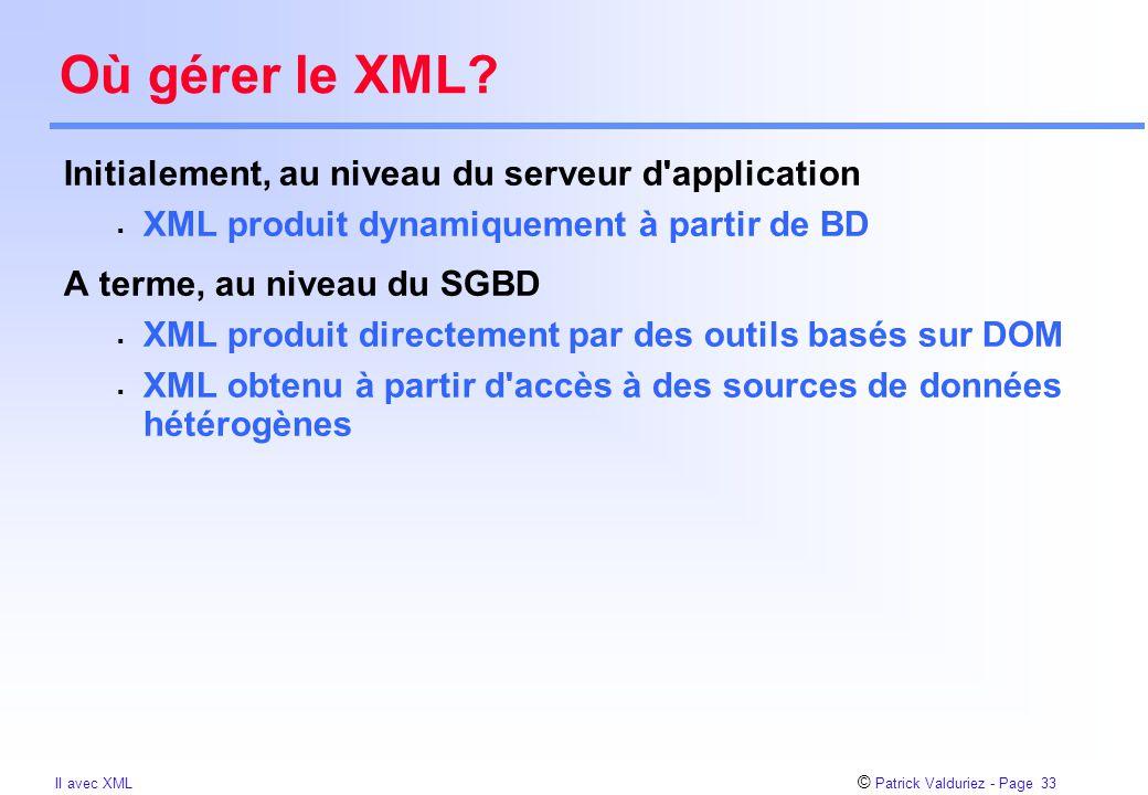 © Patrick Valduriez - Page 33 II avec XML Où gérer le XML.