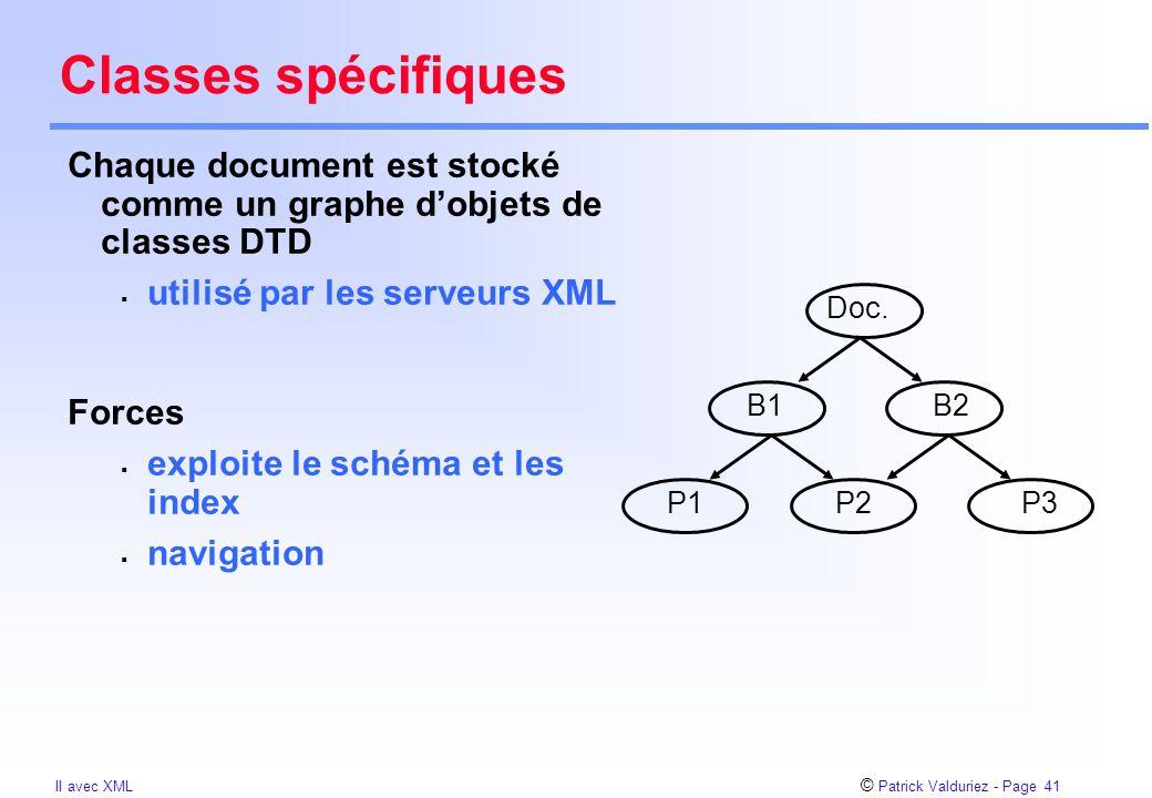 © Patrick Valduriez - Page 41 II avec XML Classes spécifiques Chaque document est stocké comme un graphe d'objets de classes DTD  utilisé par les serveurs XML Forces  exploite le schéma et les index  navigation B1 Doc.