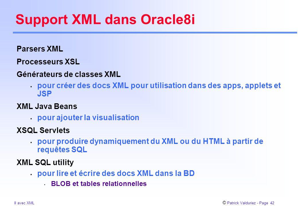 © Patrick Valduriez - Page 42 II avec XML Support XML dans Oracle8i Parsers XML Processeurs XSL Générateurs de classes XML  pour créer des docs XML p