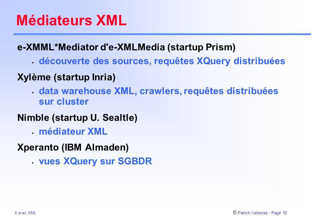 © Patrick Valduriez - Page 52 II avec XML Médiateurs XML e-XMML*Mediator d'e-XMLMedia (startup Prism)  découverte des sources, requêtes XQuery distri