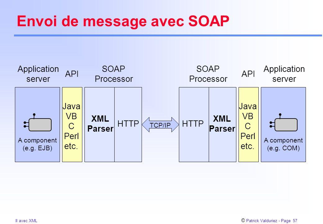 © Patrick Valduriez - Page 57 II avec XML Envoi de message avec SOAP XML Parser HTTP Java VB C Perl etc. A component (e.g. EJB) XML Parser HTTP SOAP P