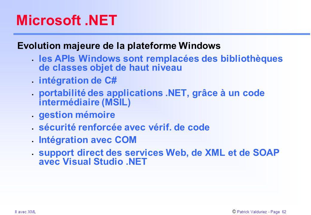 © Patrick Valduriez - Page 62 II avec XML Microsoft.NET Evolution majeure de la plateforme Windows  les APIs Windows sont remplacées des bibliothèques de classes objet de haut niveau  intégration de C#  portabilité des applications.NET, grâce à un code intermédiaire (MSIL)  gestion mémoire  sécurité renforcée avec vérif.