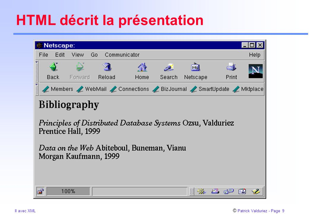 © Patrick Valduriez - Page 10 II avec XML HTML Bibliography Principles of Distributed Database Systems Ozsu, Valduriez Prentice Hall, 1999 Data on the Web Abiteboul, Buneman, Vianu Morgan Kaufmann, 1999