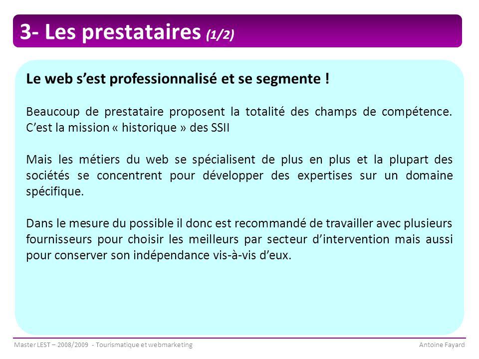 Master LEST – 2008/2009 - Tourismatique et webmarketingAntoine Fayard Le web s'est professionnalisé et se segmente .