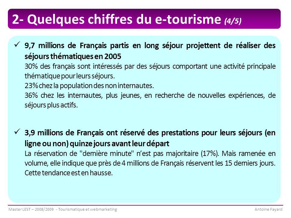 Master LEST – 2008/2009 - Tourismatique et webmarketingAntoine Fayard 2- Quelques chiffres du e-tourisme (4/5) 9,7 millions de Français partis en long séjour projettent de réaliser des séjours thématiques en 2005 30% des français sont intéressés par des séjours comportant une activité principale thématique pour leurs séjours.
