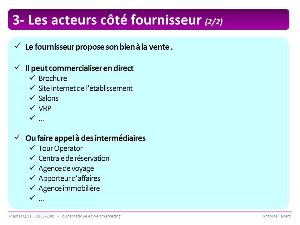 Master LEST – 2008/2009 - Tourismatique et webmarketingAntoine Fayard 3- Les acteurs côté fournisseur (2/2) Le fournisseur propose son bien à la vente.