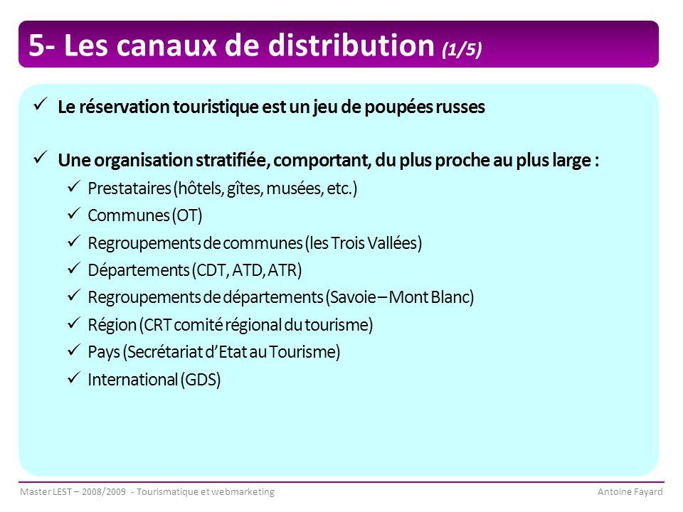 Master LEST – 2008/2009 - Tourismatique et webmarketingAntoine Fayard 5- Les canaux de distribution (1/5) Le réservation touristique est un jeu de poupées russes Une organisation stratifiée, comportant, du plus proche au plus large : Prestataires (hôtels, gîtes, musées, etc.) Communes (OT) Regroupements de communes (les Trois Vallées) Départements (CDT, ATD, ATR) Regroupements de départements (Savoie – Mont Blanc) Région (CRT comité régional du tourisme) Pays (Secrétariat d'Etat au Tourisme) International (GDS)