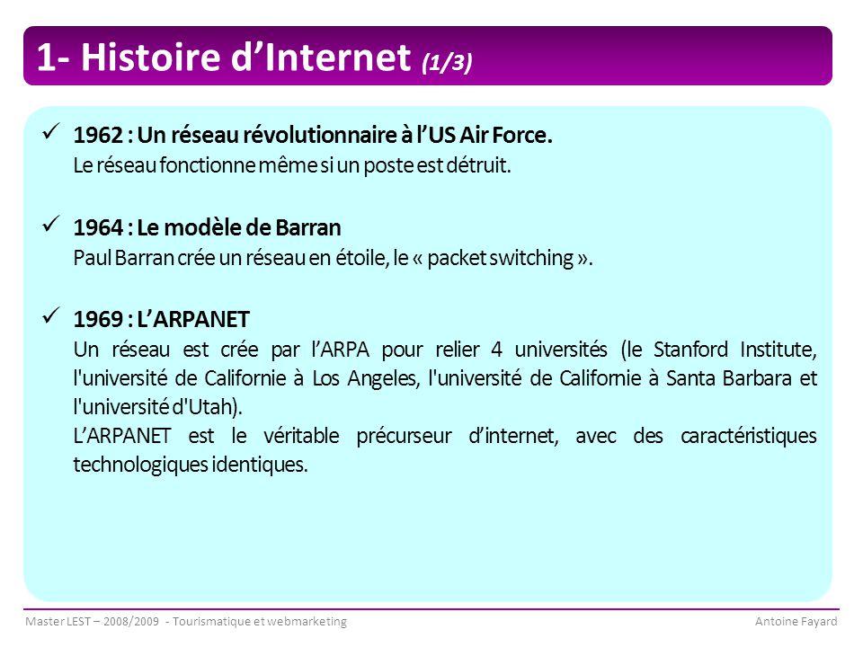Master LEST – 2008/2009 - Tourismatique et webmarketingAntoine Fayard 1- Histoire d'Internet (1/3) 1962 : Un réseau révolutionnaire à l'US Air Force.
