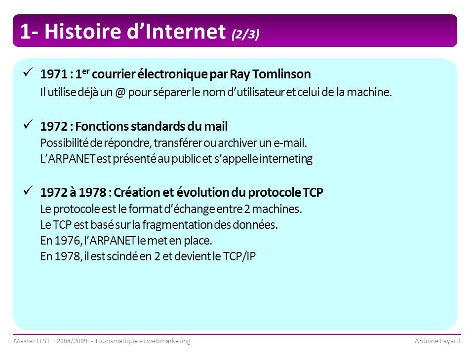 Master LEST – 2008/2009 - Tourismatique et webmarketingAntoine Fayard 1- Histoire d'Internet (2/3) 1971 : 1 er courrier électronique par Ray Tomlinson Il utilise déjà un @ pour séparer le nom d'utilisateur et celui de la machine.