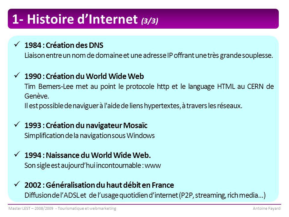 Master LEST – 2008/2009 - Tourismatique et webmarketingAntoine Fayard 1- Histoire d'Internet (3/3) 1984 : Création des DNS Liaison entre un nom de domaine et une adresse IP offrant une très grande souplesse.