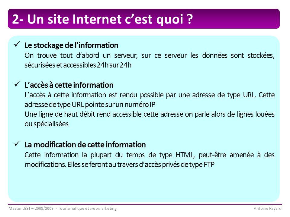 Master LEST – 2008/2009 - Tourismatique et webmarketingAntoine Fayard 2- Un site Internet c'est quoi .