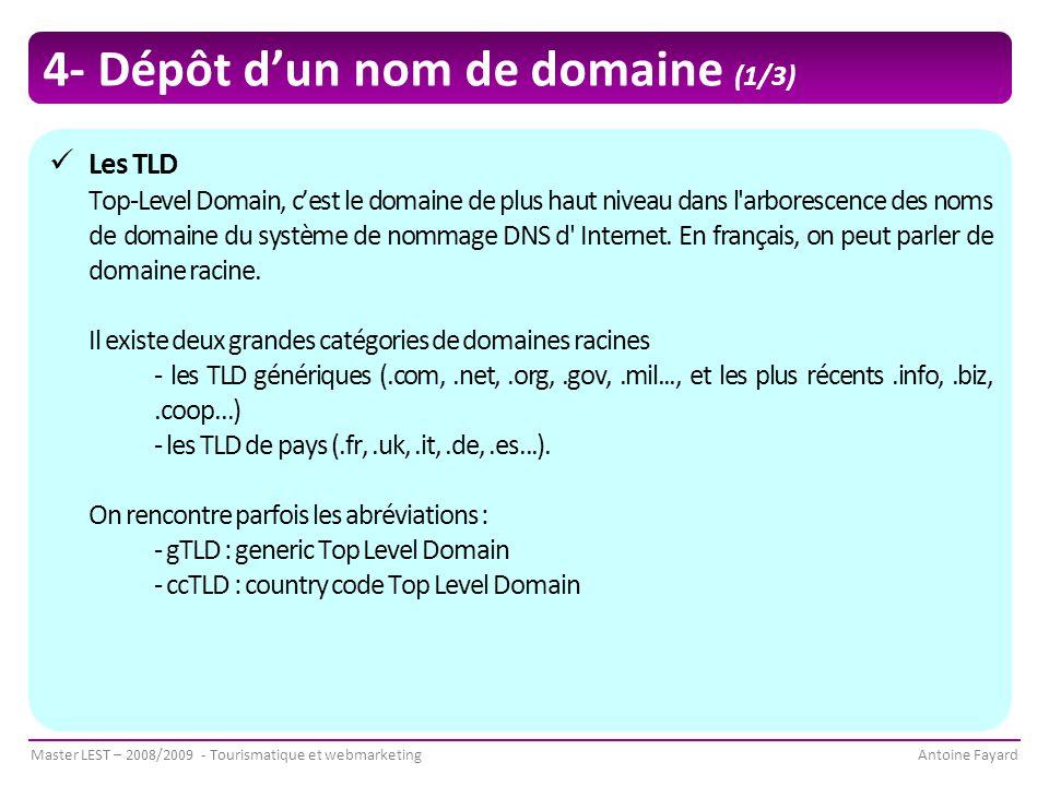 Master LEST – 2008/2009 - Tourismatique et webmarketingAntoine Fayard 4- Dépôt d'un nom de domaine (1/3) Les TLD Top-Level Domain, c'est le domaine de plus haut niveau dans l arborescence des noms de domaine du système de nommage DNS d Internet.