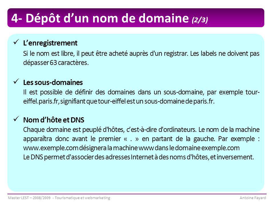 Master LEST – 2008/2009 - Tourismatique et webmarketingAntoine Fayard 4- Dépôt d'un nom de domaine (2/3) L'enregistrement Si le nom est libre, il peut être acheté auprès d un registrar.
