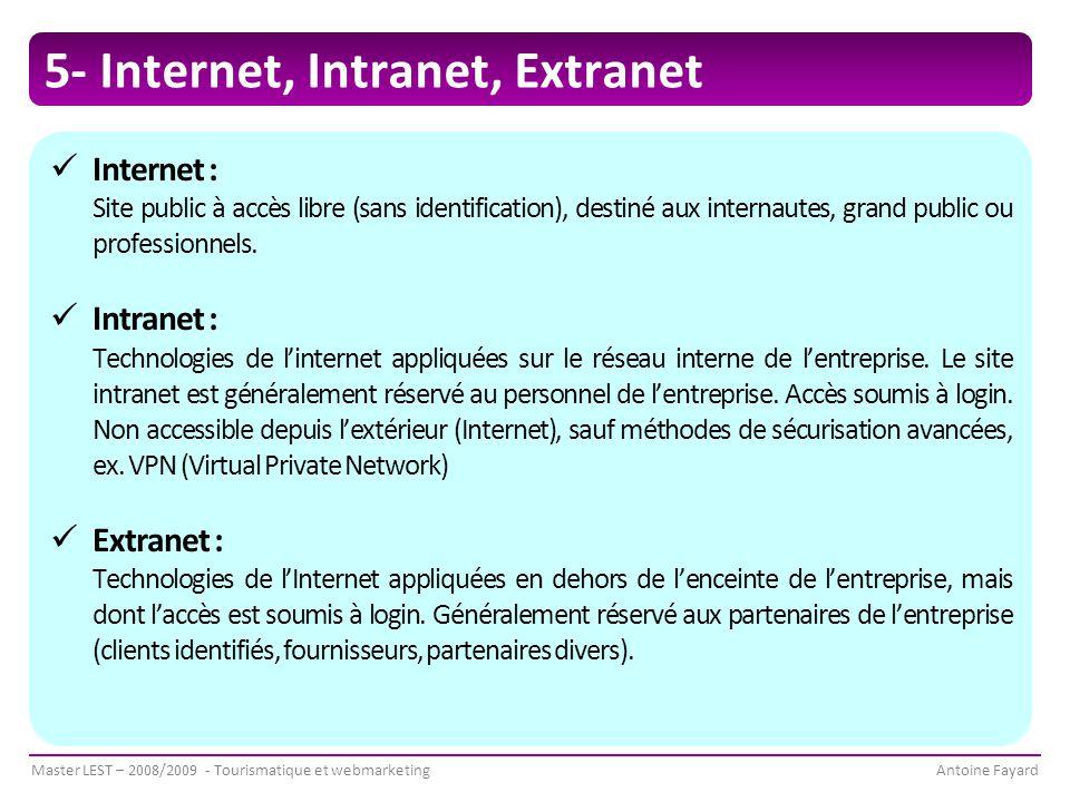 Master LEST – 2008/2009 - Tourismatique et webmarketingAntoine Fayard 5- Internet, Intranet, Extranet Internet : Site public à accès libre (sans identification), destiné aux internautes, grand public ou professionnels.