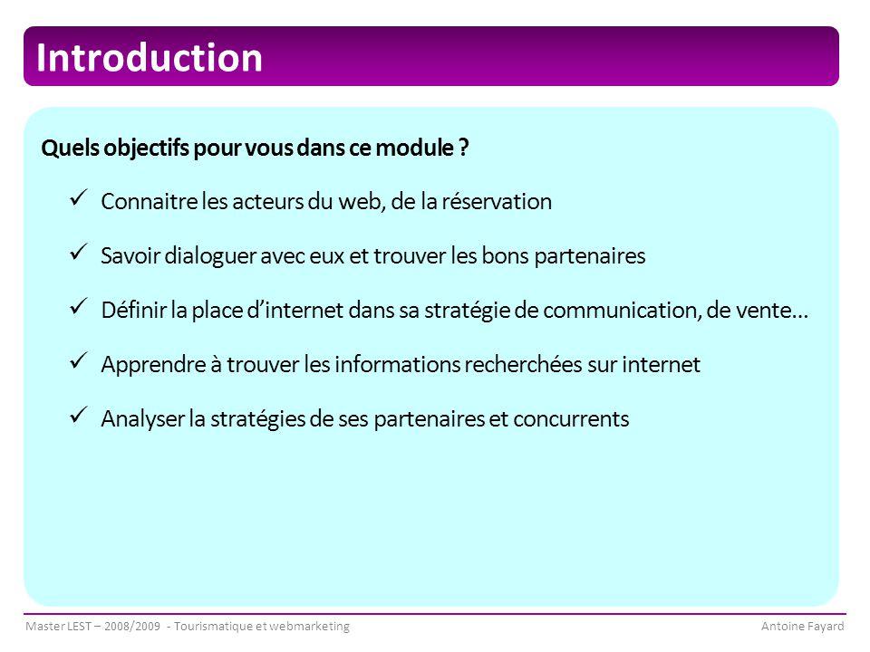 Master LEST – 2008/2009 - Tourismatique et webmarketingAntoine Fayard Introduction Quels objectifs pour vous dans ce module .