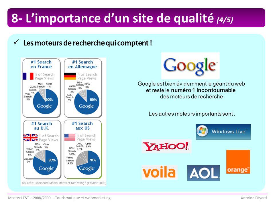 Master LEST – 2008/2009 - Tourismatique et webmarketingAntoine Fayard Les moteurs de recherche qui comptent .