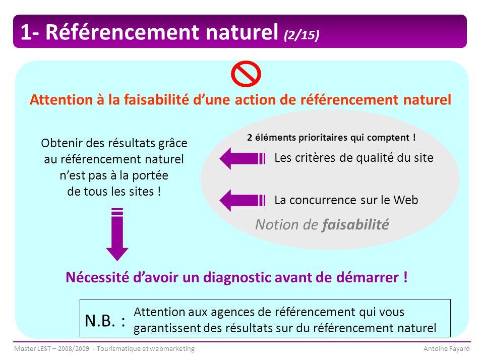 Master LEST – 2008/2009 - Tourismatique et webmarketingAntoine Fayard Obtenir des résultats grâce au référencement naturel n'est pas à la portée de tous les sites .