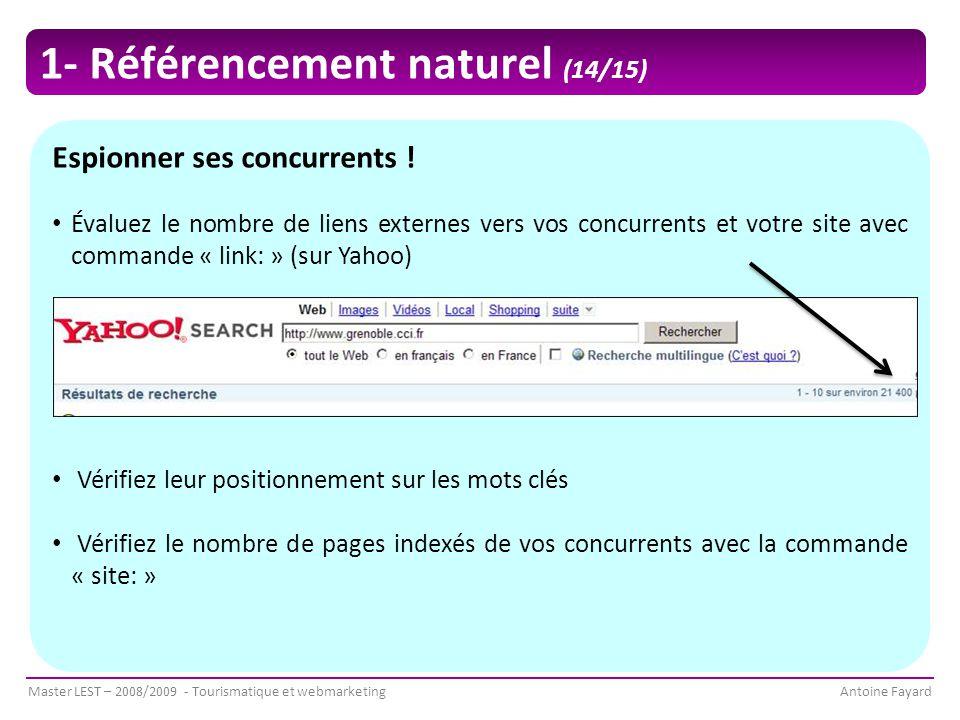 Master LEST – 2008/2009 - Tourismatique et webmarketingAntoine Fayard Espionner ses concurrents .
